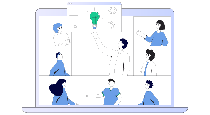 Vector image of generating ideas in company